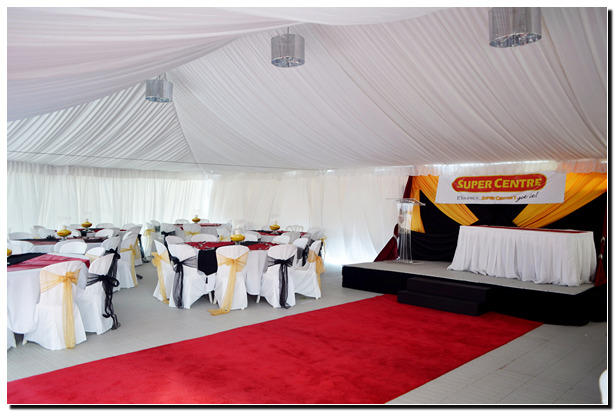 Tent rented for a corporate awards ceremony.